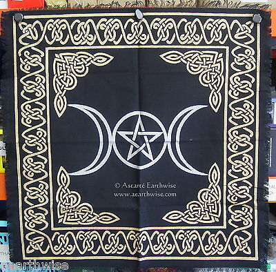 1 x GOLD & BLACK TRIPLE MOON PENTACLE ALTAR CLOTH 610 x 610mm Wicca Pagan Witch