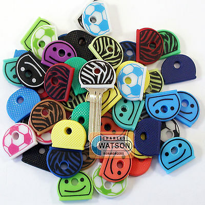 Various KEY CAPS Assorted Colours Top Head Covers ID Cap Ring Keyring Tab