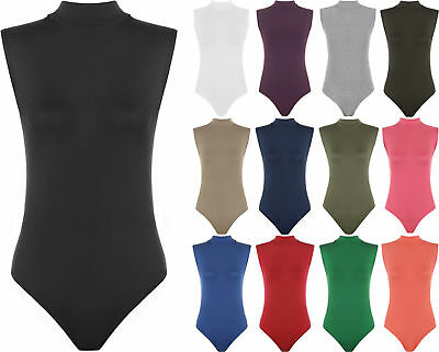 New Womens Plain Turtle Neck Sleeveless Stretch Leotard Ladies Top Bodysuit 8-14