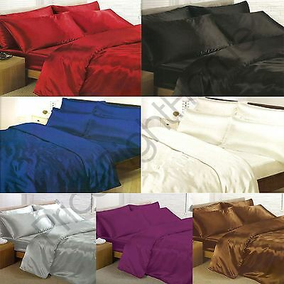 Satin Bedding Sets - Duvet Cover + Fitted Sheet + Pillowcases
