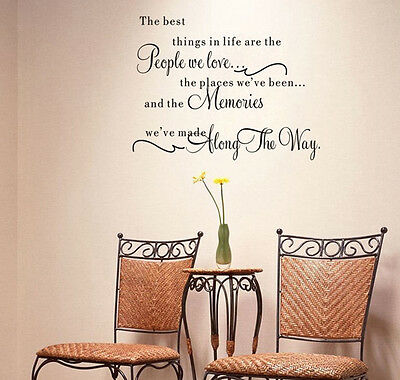 """Chic """"The Best Things In Life"""" Removable Wall Sticker Vinyl Art Decal Home Decor"""