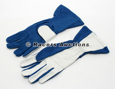 New SFI Double Layer Auto Racing Gloves Blue Size X-Large Dirt Drag Karting