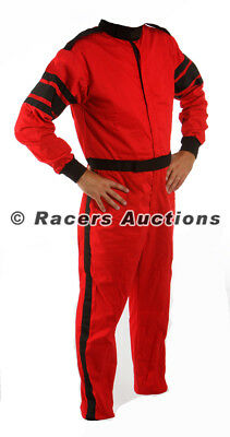 Large Red One Piece Single Layer Driving Suit SFI Rated Fire Race