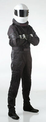 Medium Tall Black One Piece Single Layer SFI Rated Driving Fire Race Suit