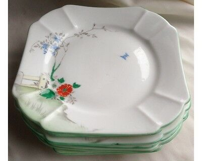 "Set of 6 Shelley S 2116 Art Deco Hand Painted 5 & 5/8th"" Plates"