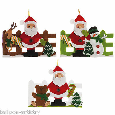 Merry Christmas Party SANTA SNOWMAN Fence Felt Hanging Tree Decorations