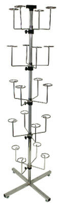 POP Floor 20 Hats Caps Spinner Display Rack Retail Store Fixture Chrome NEW