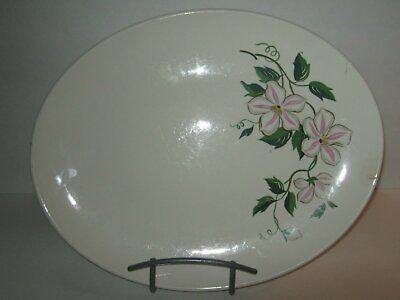 "Vintage Edwin M Knowles China Platter 12 1/2"" X 10"" LILY WHITE PINK PATTERN"