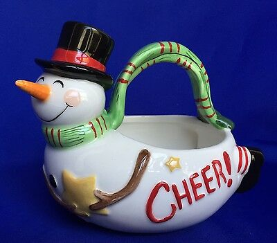 Fitz and Floyd Snowman Basket Holiday Home Christmas Candy Dish Ceramic Cheer