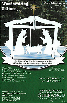 Winter White Christmas Nativity Yard Art Woodworking Pattern by