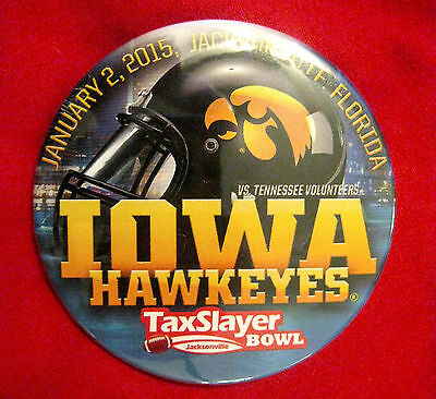 "IOWA FOOTBALL ""OFFICIAL"" 2015 TAXSLAYER BOWL BADGE! JAN 2, 2015!"