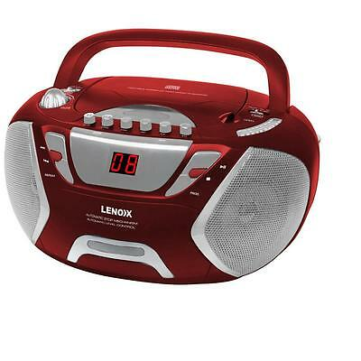 Lenoxx Cd815R Red Portable Cd-R Cd-Rw Cassete Tape Player Boombox Am/fm Radio