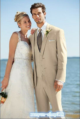 Newest Custom Made Two Button Groom Tuxedos Beige Best man Notch Lapel Groomsman