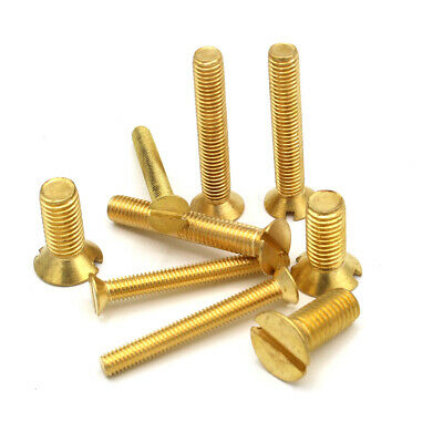 M5 (5mm) SOLID BRASS MACHINE SCREWS SLOTTED CSK COUNTERSUNK HEAD BOLTS METRIC