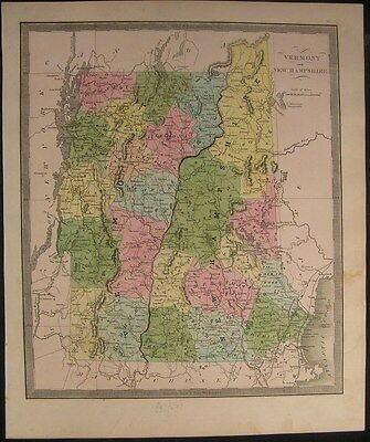 New Hampshire Vermont 1842 by Greenleaf scarce antique map w/ old hand color