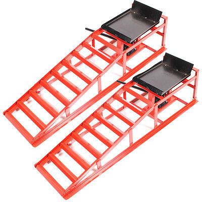 2 Ton Hydraulic Car Van Vehicle Lift Lifting Bottle Jack Metal Garage Ramp Pair