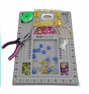 Jewelry Making STARTER KIT with Bead Board, Tool, Wire, Findings, Beads ~ GOLD