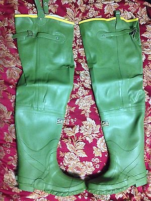 NEW PREMIUM GREEN RUBBER IRRIGATION HIP BOOTS SIZE 6