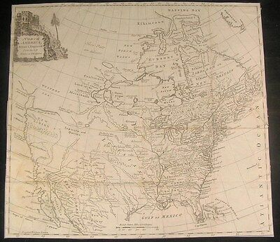 North America 1770 by T. Kitchen Mer de L'ouest River of West rare antique map