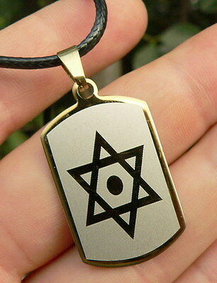 Magen Star of David Pendant Necklace Silver & Gold Tone Stainless, Men & Women