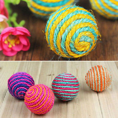2x Cat Kitten Sisal Rope Weave Ball Teaser Play Chewing Catch Toy Hot