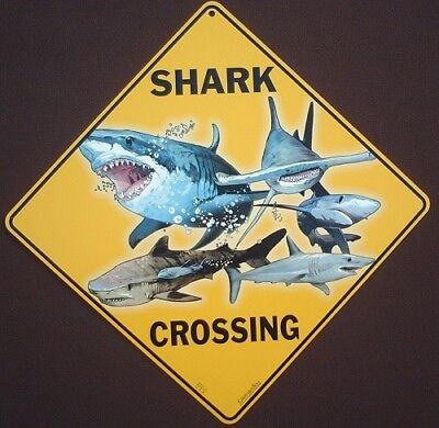 SHARK  CROSSING SIGN aluminum new picture painting decor sharks  home wildlife