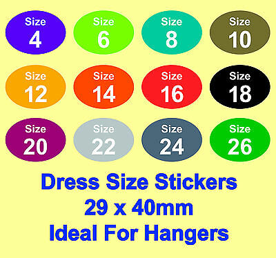 Coloured Ladies Dress Clothes Size Stickers - Sticky Labels - Ideal For Hangers