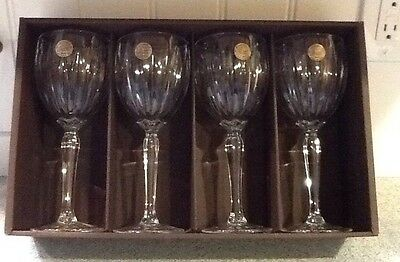 Set Of 4 Cristal d'Arques Crystal Classic Pattern Lead Crystal Wine Goblets New