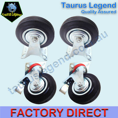 "4 X 3"" HEAVY DUTY SWIVEL CASTOR CASTER WHEEL 2 Fixed 2 Swivel with Brakes"