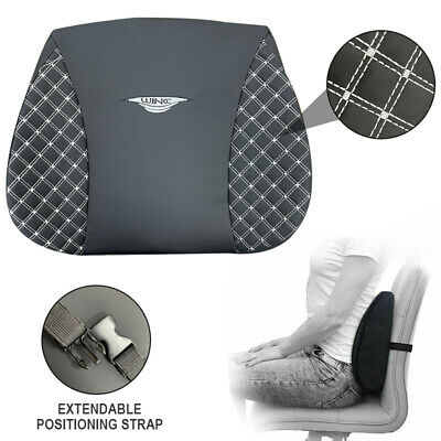Car Van Travel Pillow Office Seat Cushion Back Rest Lumbar Posture Support Black