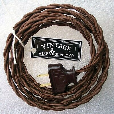 Brown Cloth Cover Twisted Wire Vintage Rewire Kit Lamp Cord Fan Antique Restore