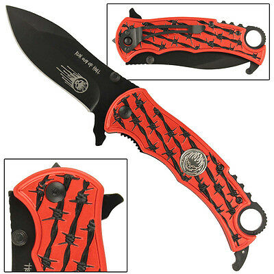Run Out Of HELL Barb Wire Assisted Folding Safety Locking Emergency Knife- Red