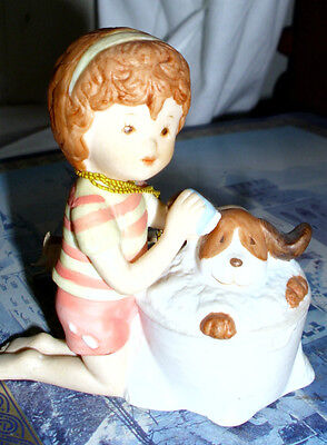 Porcelain Pals small figurine girl giving dog bath 20555 AMERICAN GREETINGS tag