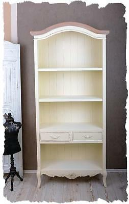 Bibliotheque Style Louis Xv En Bois Hetre Blanc Antique Patine Shabby Chic