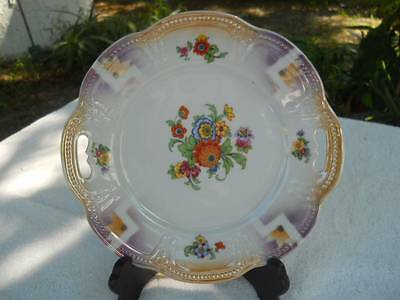 GERMANY HAND PAINTED FLORAL PORCELAIN PLATE, PIERCED EDGE HANDLE,IRIDESCENT LOOK