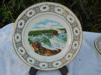 """HAND PAINTED WEST GERMANY NIAGARA FALLS, CANADA PORCELAIN 10.25"""" PLATE GOLD LEAF"""