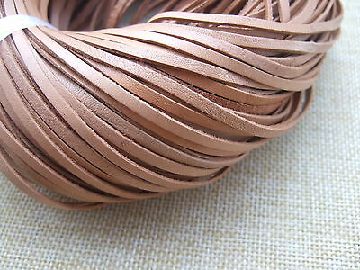 5/10 Yards Flat Soft Undyed Natural Real Leather Cord For Jewelry Making  3*1mm