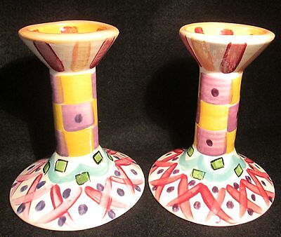 Beautiful Vintage Pair of Vicki Carroll Pottery Candle Holders