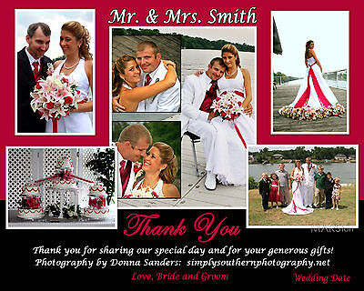 100 Personalized Wedding Thank you cards, many designs with up to 5 photos