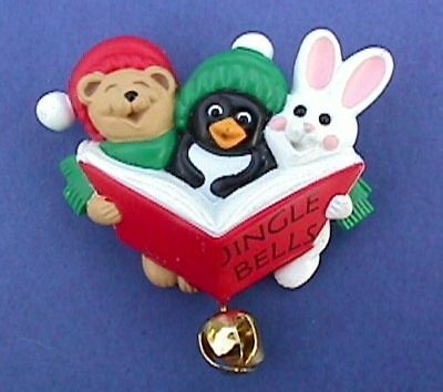 CHRISTMAS Pin CAROLER ANIMAL Vtg XMas Jingle Bell BROOCH Vintage Holiday Jewelry