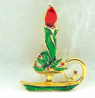 Vintage Christmas Candle Stick Holly Green Enamel Goldtone Pin Brooch Unsigned