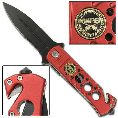 USMC Relentless Sniper  Spring Assisted Tactical Glass Breaker Belt Clip Knife