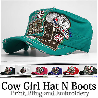 New Womens  Crystal  Rhinestone  Embroidery Vintage Cap / Hat  Hat N Boots, ,