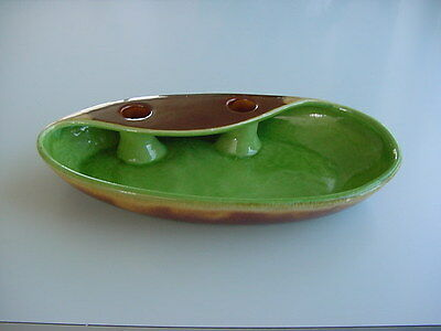 "ROYAL HAEGER CENTERPIECE BOWL W/ CANDLE HOLDER HOLES - 11.5"" L   X 6"" W X 2."" H"