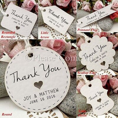 Personalized White Wedding Favour Tags/ Thank You Tags/ Gift Tags with Twine