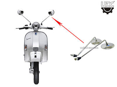 Vespa Px125 Px150 Stella Star Side Mirror Pair Chrome New P3001