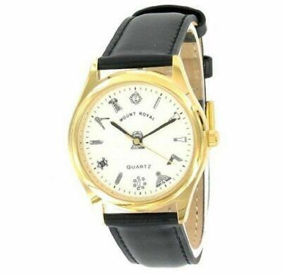 Masonic Wrist Watch, Gold Plated White Dial Black Strap - LR084