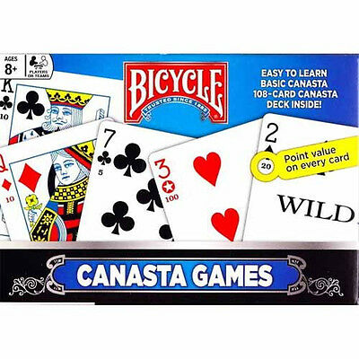 2 Deck Canasta Set Bicycle Playing Cards BOX & RULES With points on cards
