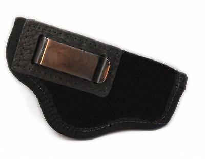 SUEDE LEATHER Inside Pants GUN HOLSTER FOR 380 AUTO Sigma, Kahr 9mm, Bersa BLACK