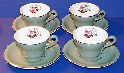 SET OF 4 VINTAGE HARKER POTTERY USA HAR42 PATTERN CUP and SAUCER SETS (12-A)